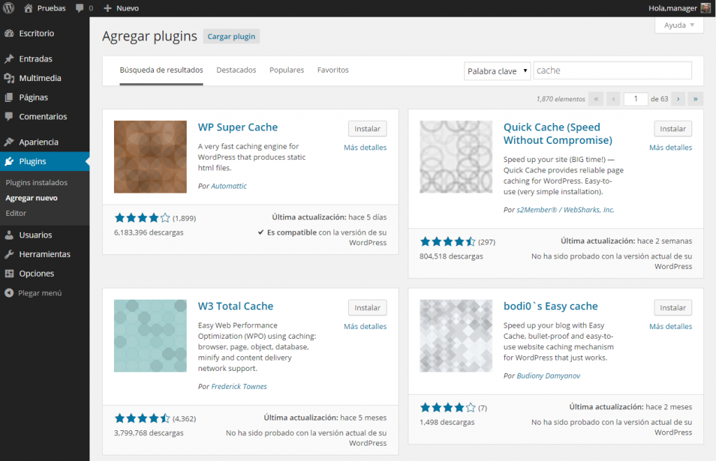 Agregar plugins ‹ Pruebas — WordPress 4.0