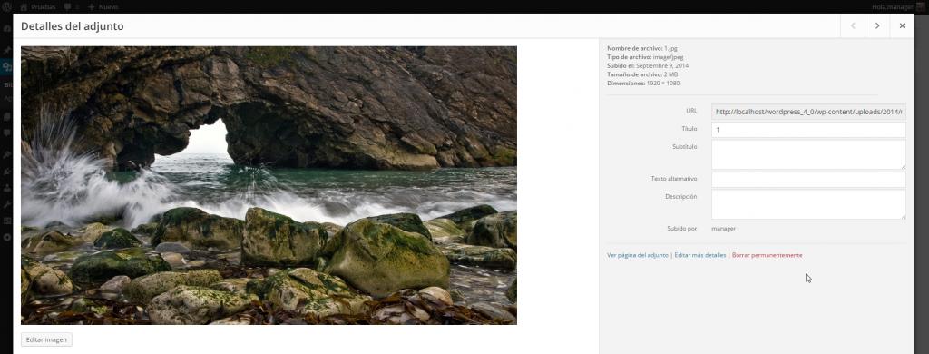 Biblioteca multimedia ‹ Pruebas — WordPress 4.0