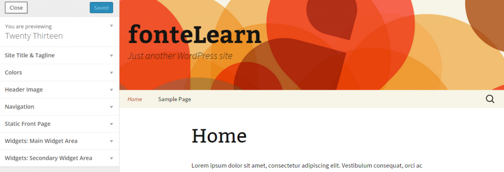 Customize Twenty Thirteen — WordPress 3.9