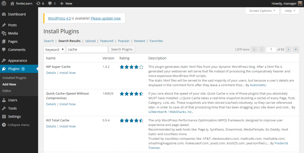 Install Plugins ‹ fonteLearn — WordPress 3.9