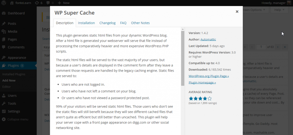 More details. Install Plugins ‹ fonteLearn — WordPress 3.9