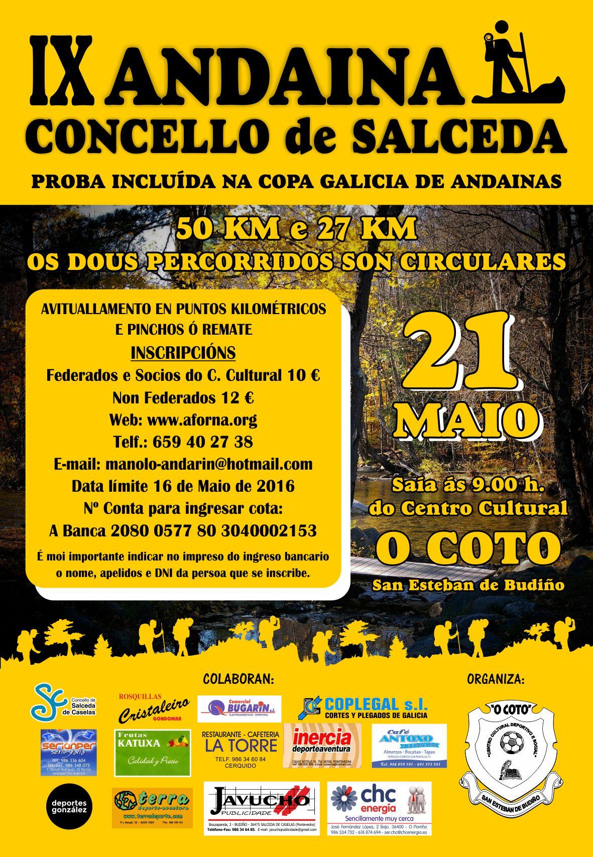 IX Andaina Concello Salceda de Caselas Copa Galicia de andainas de 50 km – cartel organización