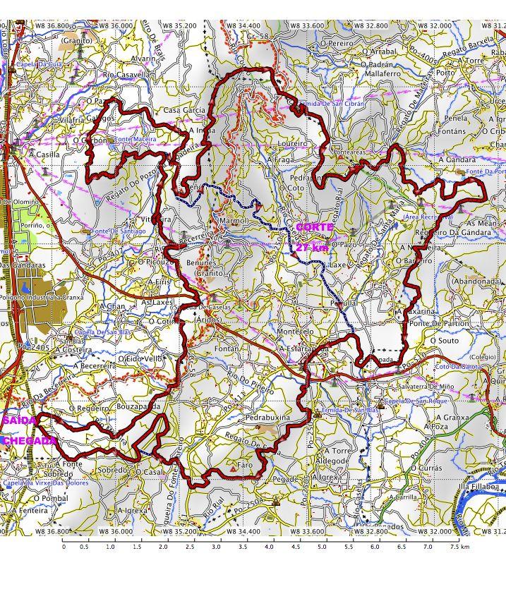 IX Andaina Concello Salceda de Caselas Copa Galicia de andainas de 50 km – plano organización