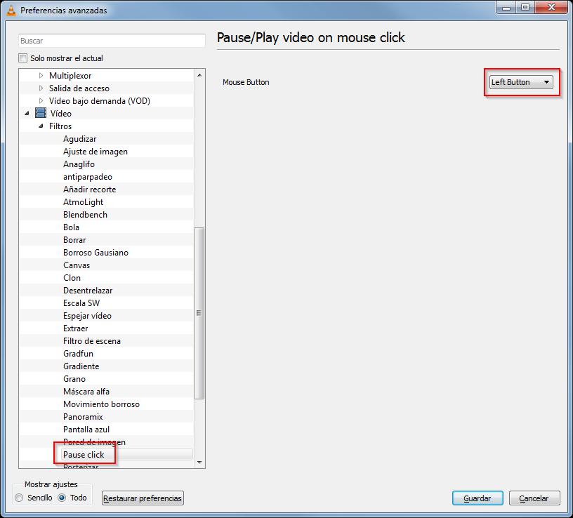 VLC. Reproducir pausar con un clic de raton 02